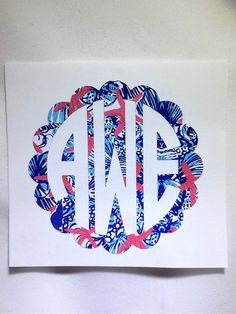 $3.75+ Lilly Pulitzer Monogram, lilly pulitzer personalized decal, lilly monogram, vinyl decal, monogram yeti decal, yeti decal, lily pulitzer