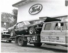 Nice 69 Mustang and race car hauler