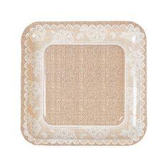 Burlap+&+Lace+Dinner+Plates+-+m.orientaltrading.com