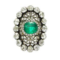 Antique emerald and diamond ring, circa 1880