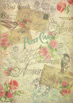 Ricepaper/ Decoupage paper, Scrapbooking Sheets /Craft Paper Vintage Postcards