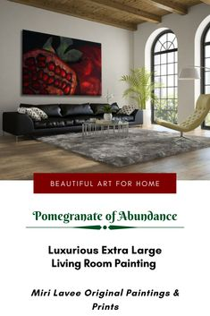 An impressive large pomegranate painting of abundance