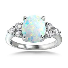 Glitzy Rock Sterling Silver Opal and Cubic Zirconia Oval Ring