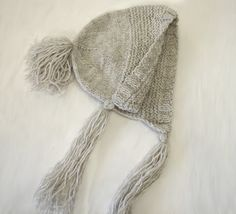 Cream color baby bonnet hat with tassels soft by TinyOrchids, $30.00
