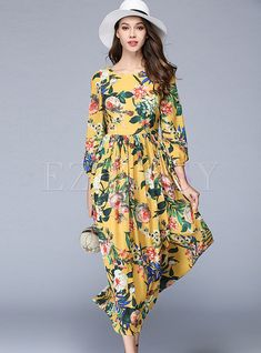 Shop for high quality Chiffon Floral Print Gathered Waist Three Quarters Sleeve Maxi Dress online at cheap prices and discover fashion at Ezpopsy.com