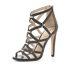 Khaki green snake print caged heels - heeled sandals - shoes / boots - women £65 #riverisland