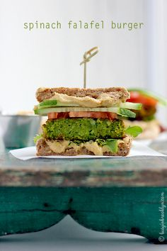 Spinach falafel burgers made from-scratch. Great vegan recipe~
