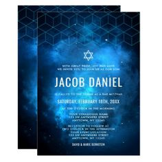 Space Galaxy Blue Space Galaxy Bar Mitzvah Invitations - modern gifts cyo gift ideas personalize - Modern space themed Bar Mitzvah invitations in blue and black. Easily personalize for your event. Bar Mitzvah Invitations, Custom Invitations, Invites, Online Templates, Blue Space, Galaxy Design, Modern Bar, Torah, Cool Bars