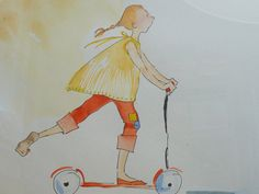 Scooter Princess, An Original Watercolor and Ink Painting on Etsy, $75.00