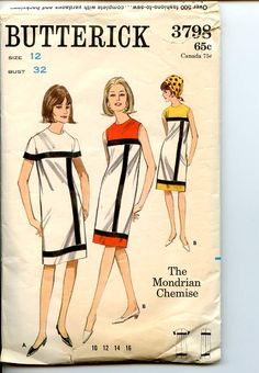 """Butterick 3798; ca. 1965; The Mondrian Chemise geometric colorblock shift dress. """"Jewel necked, yoked shift with contrast ribbon banding. (A) Short sleeved dress, (B) Sleeveless dress with contrast yoke and hemline band. A """"Mother & Daughter"""" fashion, for Daughter's pattern, see Butterick 3797 1960s Fashion, Fashion Sewing, Vintage Fashion, Mod Fashion, Womens Fashion, Vintage Sewing Patterns, Clothing Patterns, Dress Patterns, Mondrian Dress"""