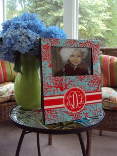 Monogrammed Picture Frame - Personalized Picture Frame - Home Decor - Coastal - Frame - CORAL ME HAPPY on Etsy, $35.00