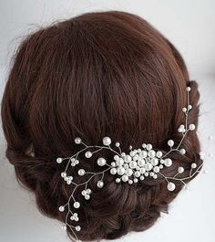 Bridal Floral Hair Vine Crystal Pearl Leaf branch Wedding Proms Comb Headpiece