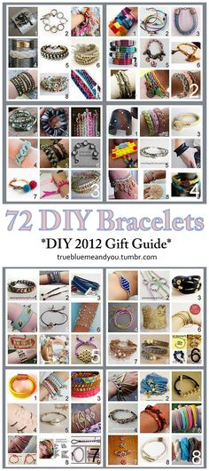 72 DIY Bracelets. DIY GIFT GUIDE from truebluemeandyou. *UPDATED - all 72 links checked and fixed.*This used to be 8 separate posts, but I've consolidated them into 1.2012 was an excellent year for DIY Jewelry from bloggers. There are bracelet DIYs here for every budget and skill level.  For other roundups of DIY Gift Guides from earrings to necklaces to spa gifts go here: truebluemeandyou.tumblr.com/tagged/diy-gift-guide  Leather Cuff from Think Crafts! here.DIY Inspiration: Rings'…