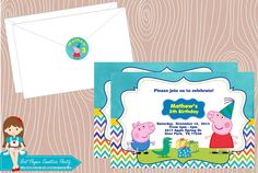 10 Unidades Convites personalizados Peppa Pig menino, Arte Digital convite Peppa Pig