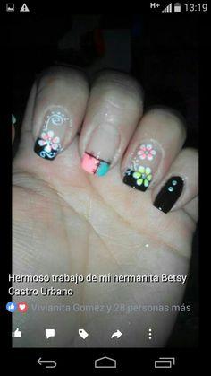 Flower Nail Art, Simple Designs, Nail Designs, Hair Beauty, Nails, Nail Art Galleries, Nail Art Designs, Polish Nails, Short Nails