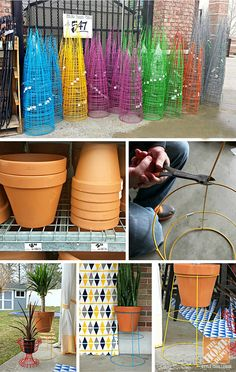 Colorful Patio Makeover: DIY Tomato Cage Plant Stand