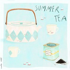 summer tea, by * inspired by the amazing but with my own pattern 😉 * based on the beautiful tea tins teapot Fortnum And Mason, Tea Tins, Marimekko, Hygge, Teapot, Illustration Art, Ocean, Cold, Turquoise
