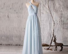 2016 Light Blue Bridesmaid Dress Long Chiffon Maxi by RenzRags