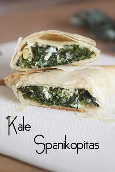 Why not use kale in your next batch of spanakopitas? The mild sweetness of kale pairs beautifully with toasted pine nuts, feta cheese and crispy, flaky phyllo pastry. Phylo Dough Recipes, Phyllo Recipes, Kale Recipes, Vegetarian Recipes, Cooking Recipes, Healthy Recipes, Cheap Recipes, Greek Dinners, Saffron Recipes