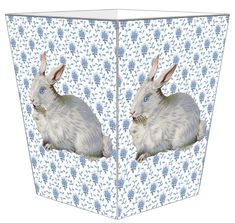 Blue Provencial Print with Bunny Decoupage Wastebasket with Optional Tissue Box