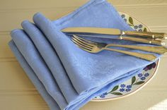 Periwinkle Blue Damask Napkins Irish Linen x 4 by McBurneyandBlack