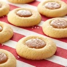 Caramel Thumbprint Cookies This sweet and salty combination is a new twist on the classic shortbread thumbprint.This sweet and salty combination is a new twist on the classic shortbread thumbprint. Salted Caramel Thumbprint Cookies Recipe, Caramel Shortbread, Holiday Baking, Christmas Baking, Christmas Crafts, Christmas Tree, Carmel Cookies, Cookie Recipes, Dessert Recipes