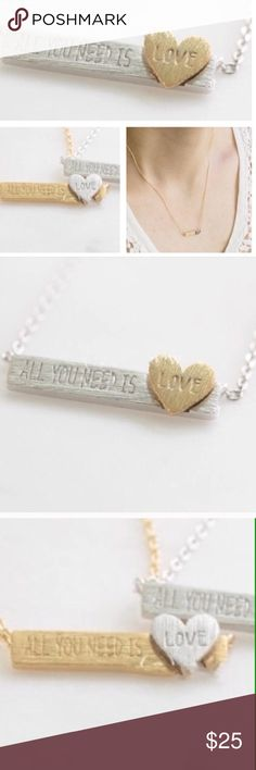 All You Need is Love Bar Necklace Dainty Necklace, Bar Necklace, Jewelry Necklaces, Stainless Steel Necklace, Silver Bars, All You Need Is Love, Heart Of Gold, Fashion Design, Fashion Tips