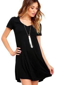 Black Fashion V Neck Pocket Short Sleeve T-Shirt Dress ChicLike.com