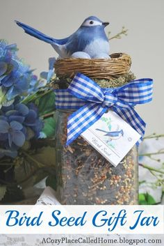 Cozy Place Called Home: Bird Seed Gift Jar - great garden party or club gift idea! Mason Jar Gifts, Mason Jars, Gift Jars, Gifts In Jars, Craft Gifts, Diy Gifts, Wrapping Gift, Wrapping Ideas, Cadeau Surprise