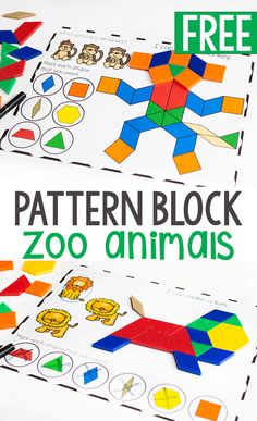 Kids love these pattern block mats! Free printable zoo animal pattern block activity for preschoolers. Grab these free printable pattern block mats for preschool zoo animal themes. Zoo animal fine motor printables for preschoolers. Zoo Activities Preschool, Circus Activities, Animal Activities For Kids, Preschool Books, Free Preschool, Preschool Learning, The Zoo, Africa Nature, Africa Art