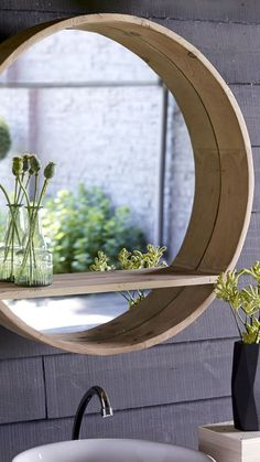 Moderner, Runder Spiegel Mit Bullaugen Design
