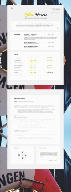 Love this Stylish, Modern CV Template / CV Design. #CV #CVTemplate…