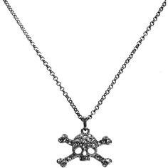 Vivienne Westwood Gunmetal Crystal Skull Necklace ($65) ❤ liked on Polyvore