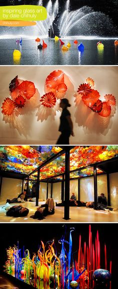 Glass Art for kids' spaces, inspired by Dale Chihuly of course.Chihuly is my fav glass blower artist! Dale Chihuly, Art Of Glass, Blown Glass Art, Glass Design, Installation Art, Amazing Art, Awesome, Bunt, Sculpture Art