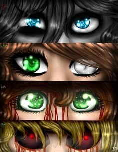 Creepypasta Eyes - Jeff, Clock Work, Sally, Ben. by Dashameleshkina666