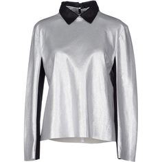 Acne Studios Blouse ($755) ❤ liked on Polyvore featuring tops, blouses, silver, acne studios, leather blouse, long sleeve blouse, zipper top and leather top