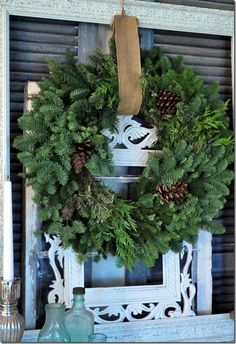 love the burlap to hang wreath up