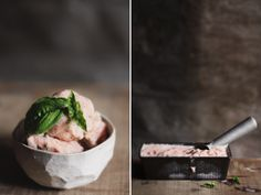 Strawberry, Basil & Balsamic Frozen Yogurt .. maybe add rhubarb