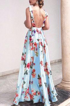 Pin on Chiffon maxi dress Backless Maxi Dresses, Chiffon Maxi Dress, Maxi Dress With Sleeves, Sexy Maxi Dress, Floral Print Maxi Dress, Boho Dress, Off Shoulder Lace Dress, Moda Floral, Vestidos Vintage