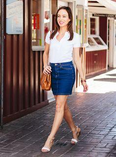 classics, spring style, polos, polo shirt, lacoste, denim skirt, spring street style