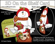 7 Sheets in the kit  On the shelf base card  On the Shelf Character top piece  On the Shelf Character bottom piece  3D decoupage  Matching 2 piece envelope  2 Coordinating backing papers  Holiday Greetings sentiment Panels  Blank sentiment layer for your own greeting  Larger writing panel for the reverse of the card    A Gorgeous Keepsake Christmas 3D On the Shelf Card with that added WOW factor! A card that will really sit on the shelf making a super cute and original card that will sit…