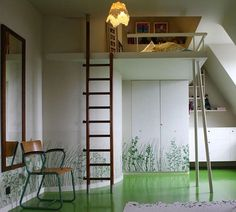 This loft space is perfectly kiddie-size and well-suited to an indoor playhouse.