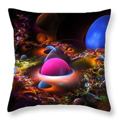 """Throw pillow with colorful spheres modern art fractal design.Pillows are made from 100% cotton fabric and are available in sizes from 14""""x14"""" to 26""""x26"""". Each pillow is printed on both sides and includes a concealed zipper for easy cleaning. Comes with or without insert......"""