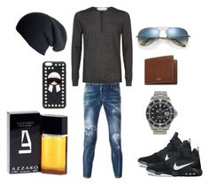 """""""Bez naslova #9"""" by amin75 ❤ liked on Polyvore featuring Dsquared2, Sandro, NIKE, Rolex, Mulberry, Ray-Ban, Azzaro, Fendi, Black and men's fashion"""