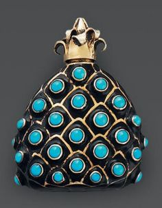 rene boivin flacon de parfum en argent en forme dananas maill noir