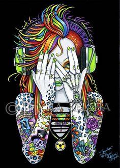 Synthea Psytrance Rainbow Peek A Boo Tattoo Myka Jelina Canvas Embellished ACEO | eBay