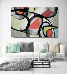 Vibrant Colorful Abstract-0-76. Mid-Century Modern Green Red