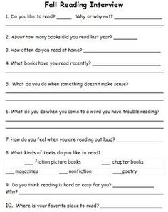 Beginning of the year Reading Interviews for students and parents!  Great Resource!