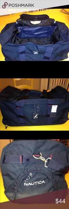 """Navy blue Nautica duffel bag Beautiful Nautica duffel bag – it's made of a nice heavy navy blue canvas. It measures 22"""" x 14"""" x 12""""– Zip mash compartment built into top flap and 2 Side zips, lots of room. Looks so sharp. Brand-new Nautica Bags Travel Bags"""