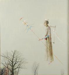 stefan-caltia- the wings salesman Magic Realism, Famous Words, Old Paintings, Art Database, Macabre, Musical, Faeries, Mythology, Illustrators
